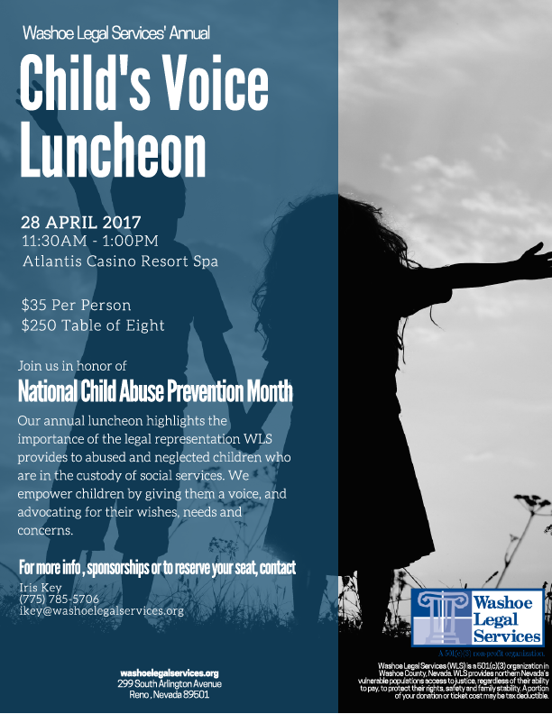 Flyer of Washoe Legal Services Annual Child's Voice Luncheon