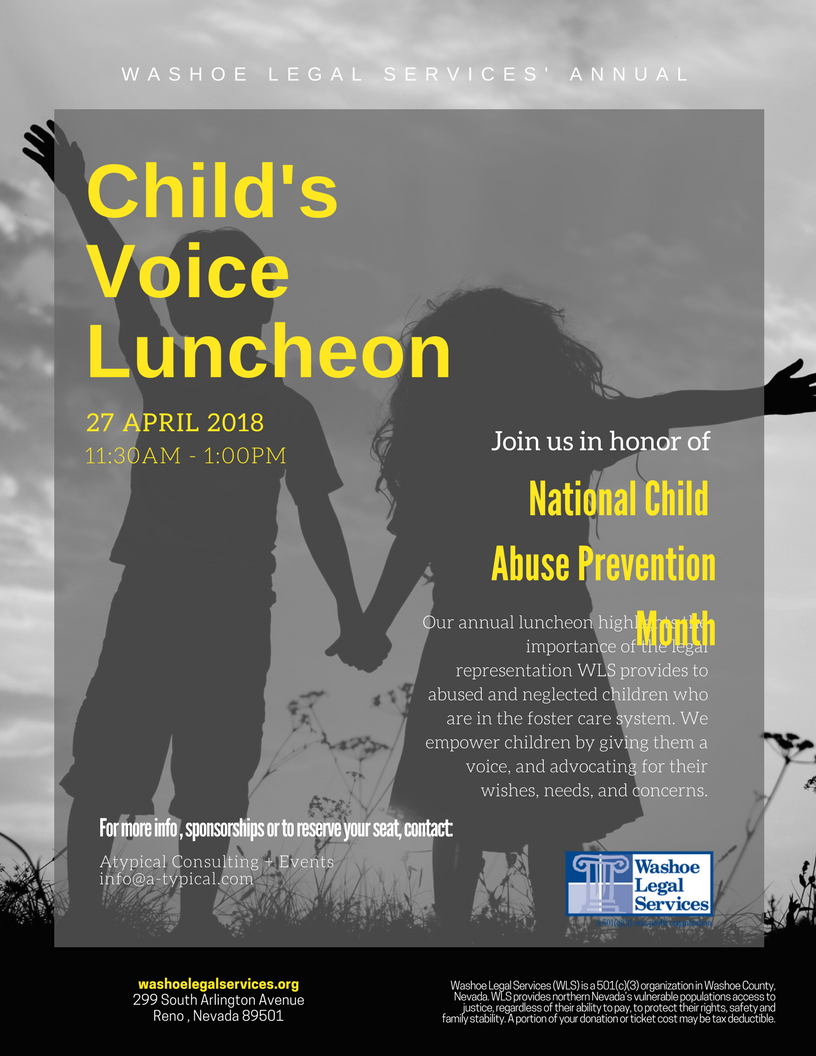 Washoe Legal Services 2018 Child's Luncheon Flyer